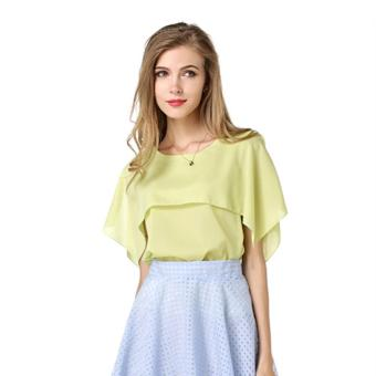 Áo kiểu nữ trơn tay loe cánh tiên cổ tròn đơn giản thời trang công sở dạo phố Urban Horizon FM0040 (Xanh lá neon)