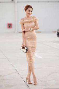 Đầm dự tiệc lưới bèo ngực nhún sườn màu kem sang trọng   Đầm dự tiệc
