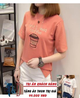 Áo Thun Nữ In Hình Coffee Cá Tính D368 Trần Doanh ( Màu Cam ) + Tặng Áo Thun In Hình T&D Cao Cấp