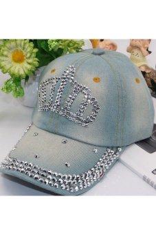 Moonar Fashion Women Denim Rhinestone Embedded Baseball Cap (6#)