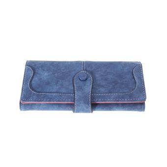 Fashion Retro Matte Stitching Wallet Women Brand Long Purse(purplish blue) - intl