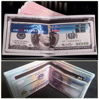 Bộ 2 Ví Da In Hình Tiền 500 nd Và 100 Usd