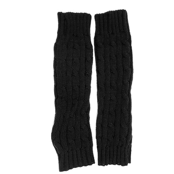 Winter Warm Fingerless Knitted Long Gloves Sleevelet Wrist Arm Mitten Black - Intl