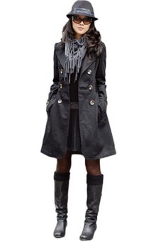 Bluelans Womens Slim Fit Trench Double-breasted Coat Jacket Outwear Black (Intl)