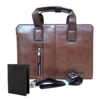Bộ túi xách công sở và ví nam Zefer 999 (Nâu vàng)