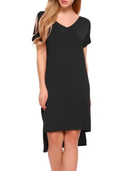 Cyber Women V-Neck Open Sleeve Solid Casual Loose Fit High Low Hem Dress ( Black ) - intl