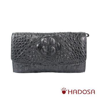 Ví nữ da cá sấu nguyên con màu đen cao cấp Hadosa