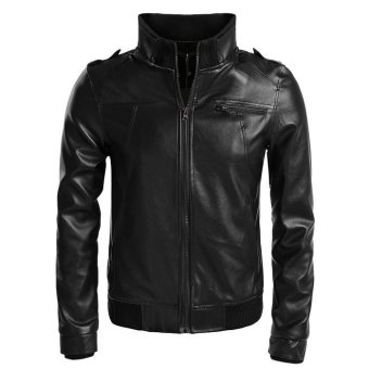 Cyber Zeagoo Men Stand Neck Synthetic Leather Casual Slim Outerwear Motorcycle Jacket Waistcoat (black) - Intl