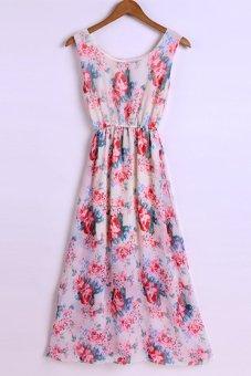 Sunweb Bohemian Style Women's Chiffon Print Beach Maxi Long Dress Casual High Elastic Waist Dresses ( Type 10 ) - intl