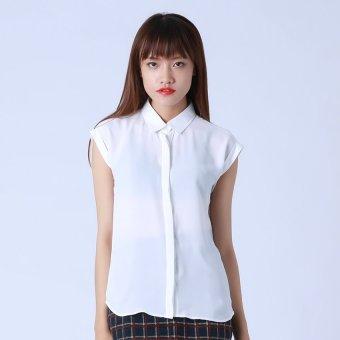 Áo Trắng Sơ Mi Tay Liền Kim Fashion KFA0129 (Trắng)