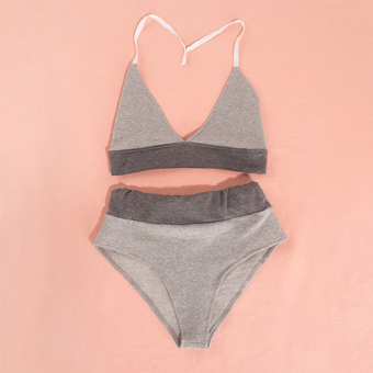 Women Backless Swim Suit Sport Style Beachwear Bikinis Set (Gray) - intl