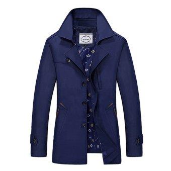 Men's Jacket Cotton Coat and Long Slim Male Small Size Casual Windbreaker Suit (Blue) - intl