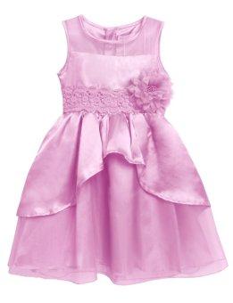 Linemart New Kids Girl O-Neck Sleeveless Flower Party Wedding Tulle Ruffle Dress ( Pink ) - intl