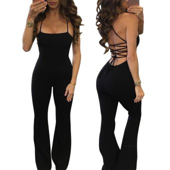 NEW Trendy Pure color Spaghetti Strap Women Jumpsuit sexy Sleeveless & Backless Women Jumpsuit (Black) - intl