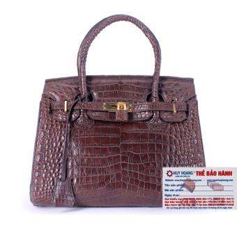 HL6241 - Túi xách nữ da cá sấu Huy Hoàng Vip màu nâu đất