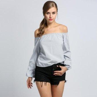 Sunweb Sexy Women Slash Neck Off Shoulder Long Sleeve Striped Blouse Tops ( Black ) - intl