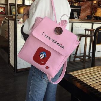 Girl Print I Love Mom Backpack Casual College Bookbag Daily Travel Bag PK - intl