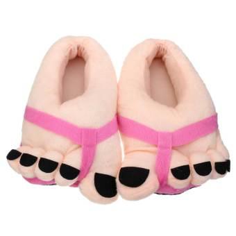 Women Funny Large Foot Winter Slippers Home Indoor Floor Non-Slip Slipper Women Ladies Warm Foot Plush Shoe Inner Length 25.5cm - Intl