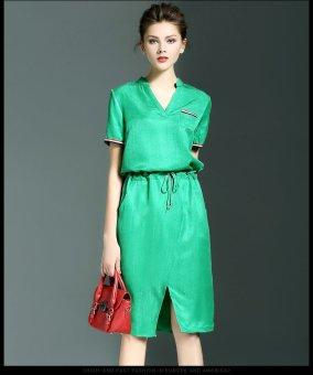 Đầm Suông Xẻ Vạt HR820 - Xanh