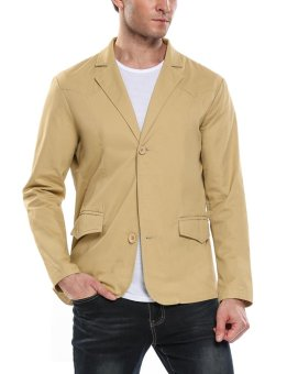 Linemart New Men Casual Notched Lapel Two-Button Slim Fit Long Sleeve Solid Jacket Blazer ( Khaki ) - intl