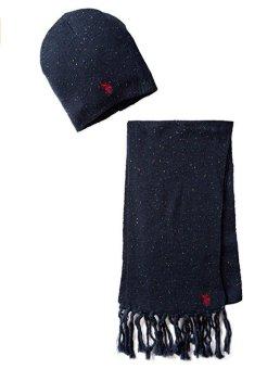 Bộ khăn choàng & mũ len xanh navy nam U.S. Polo Assn. Men's Donegal Hat and Scarf Set (Mỹ)