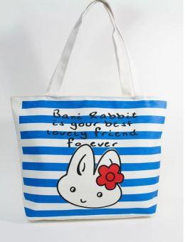 Túi Vải Tote Họa Tiết Thỏ Sọc Xanh Xinh Store