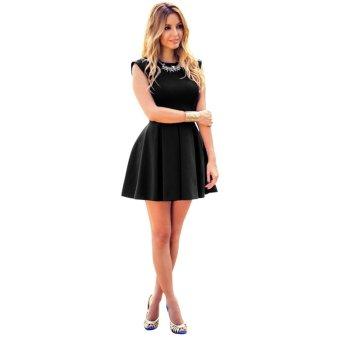 Women Sleeveless Short Mini Dress Black - intl