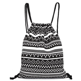 Unisex Retro Geometric Backpacks Printing Bags Drawstring Backpack Black - intl