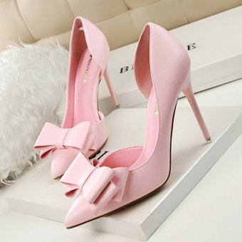 Women 10.5cm Pumps Sweet Bowknot High-heeled Shoes Thin High Heel Shoes Hollow Pointed Stiletto Elegant, Pink - intl