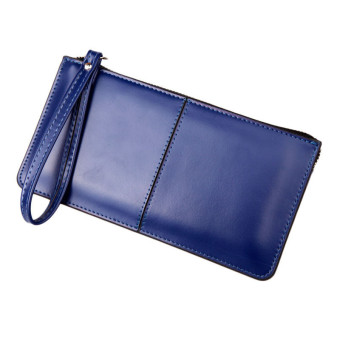 Retro Long Card Holder Purse Leather Stitching Lady Women Wallet Dark Blue