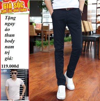 Quần kaki nam han quoc ( Xanh Đen) + Tặng áo thun body nam