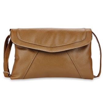 Shoulder Messenger Envelope Bag Patchwork Magnet Button(Khaki) - intl