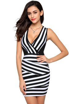 Cyber Finejo Ladies Women Fashion Sexy V-neck Black And White Stripped Slim Party Dress (Black) - Intl