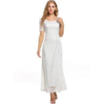 Linemart Womens Full Lace Solid Short Sleeve Elegant Wedding Maxi Dress ( White ) - intl