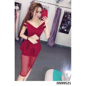 Đầm bẹt vai peplum phối lưới sexy