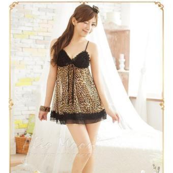 Váy ngủ quyến rũ thun phối ren da báo Chodeal24h (đen)