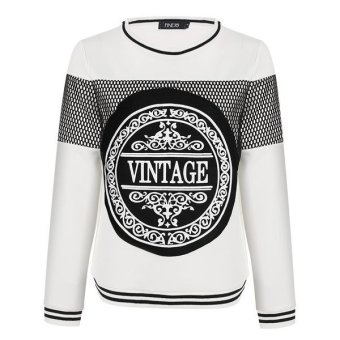Cyber FINEJO Stylish Ladies Hoodies Patchwork Print Hooded Long Sleeve Loose Casual Pullover Sweatershirt(White) - Intl