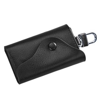 Men Leather Wallet Car Key Chain Holder 6 Ring Pouch Case Black - intl
