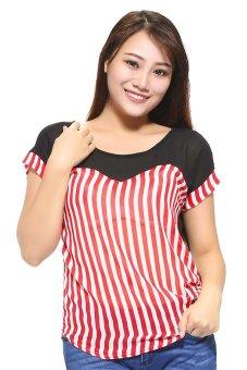 Áo nữ sọc cúp ngực KT fashion MSA38 (Đỏ nhạt)