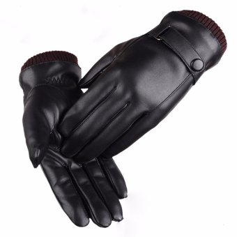 Găng tay da nam cảm ứng (Đen)
