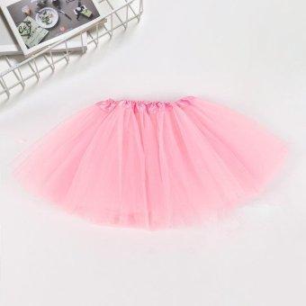 Super Fashion Cute Girls Precess Puff Party Dancing Dress Stylish Children Girls Tutu Short Skirt- Pink - intl