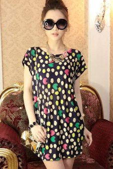 Cyber Women Fashion Sleeve Loose Mini Dress Party Mini Dresses (Multicolor) - Intl