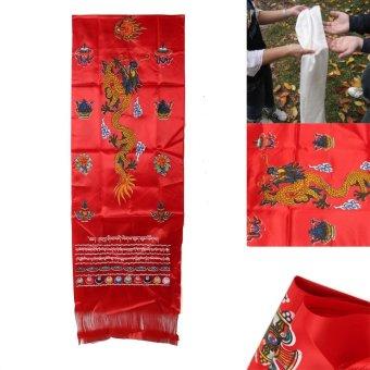 118'' Red Tibetan Chemical Fiber Hada Scarf Dragon Eight Treasures Of Buddha - intl