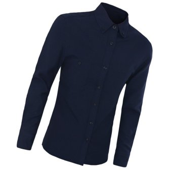 2016 New High Quality Arrival Shirt Men Work Shirt Casual Shirt Long Sleeve Fashion Slim Shirts Mens Clothes(Dark blue) - intl
