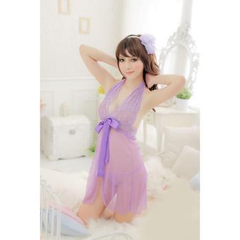 Áo ngủ yếm ren thắt nơ xẻ giữa CDAN25 RainStore (tím)