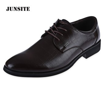 Junsite Men Lace Up Leather Business Flats (Brown) - intl