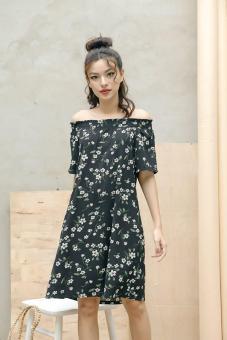 Đầm suông hoa trễ vai màu đen dễ thương