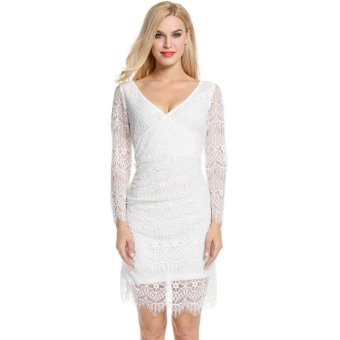 Linemart Women V-Neck Long Sleeve Slim Cocktail Party A-Line Lace Dress ( White ) - intl