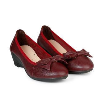 Giày Búp Bê Đế Xuồng Bít Mũi Đính Nơ HC1365 (Đỏ đô)