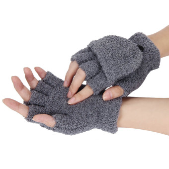 Girls Women Ladies Hand Wrist Warmer Winter Fingerless Gloves Mitten Gray - Intl